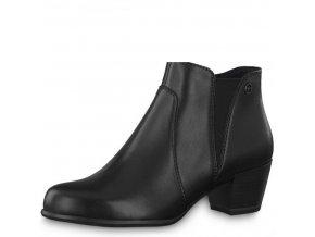 Tamaris-dámské kožené kotníkové boty na podpatku na zip 1-25353-21/černá p/z8