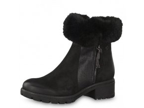 Tamaris- dámské zateplené kotníkové boty s kožíškem 1-26436-21/černá p/z8