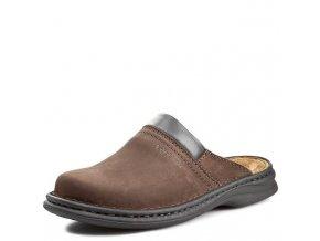 Josef Seibel-pánské kožené pantofle s plnou špičkou a vyměkčenou stélkou 10663 11 340/hnědá