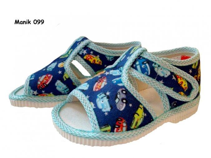 Manik detské papučky 912/1S autíčka