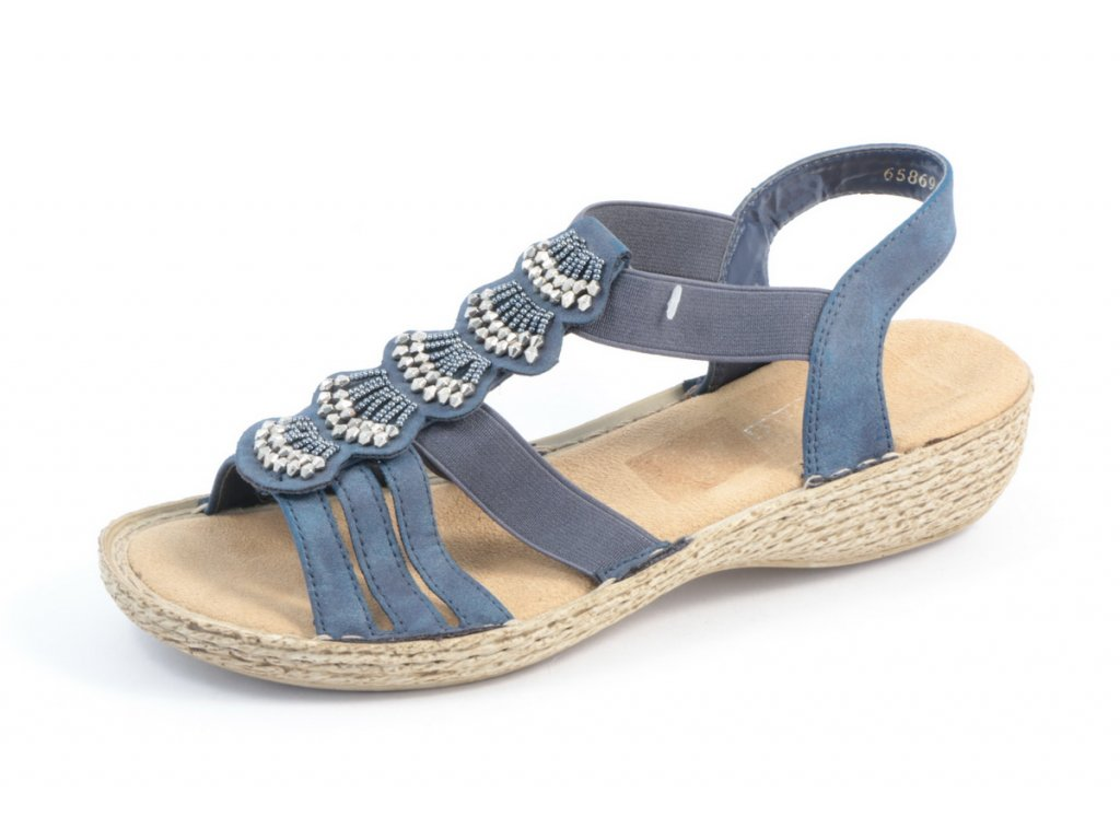 Dámské sandály Rieker 65869-14 (Barva Modrá, Velikost 39)