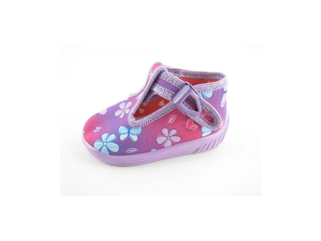 Dětská domácí obuv Ula 33 (Barva kytička, Velikost 23)