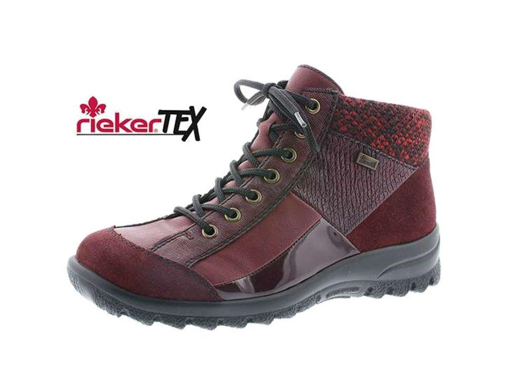 Dámské boty Rieker L7143-35 (Barva červená, Velikost 38)