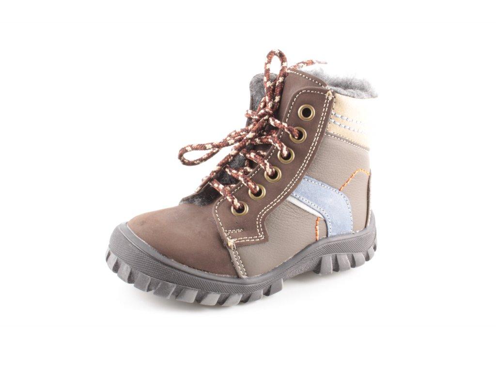 Dětská zimní kožená obuv ESSI S1607 23-26/40 (Barva hnědá, Velikost 24)