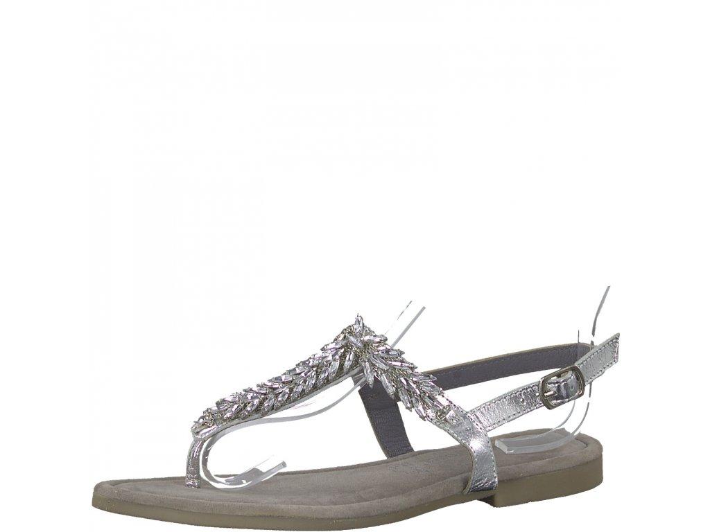 Dámské sandály Marco Tozzi 2-28146/22 (Barva stříbrná, Velikost 42)