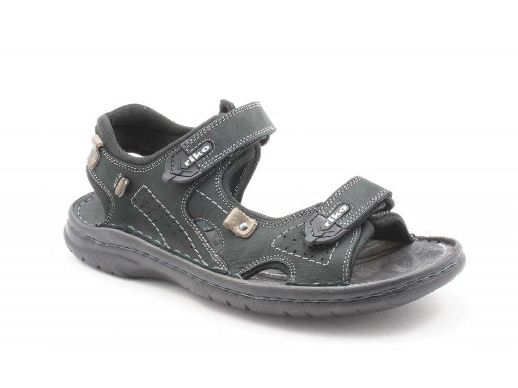 Pánská obuv letní RIKO 552 kožená (Barva černá, Velikost 45)