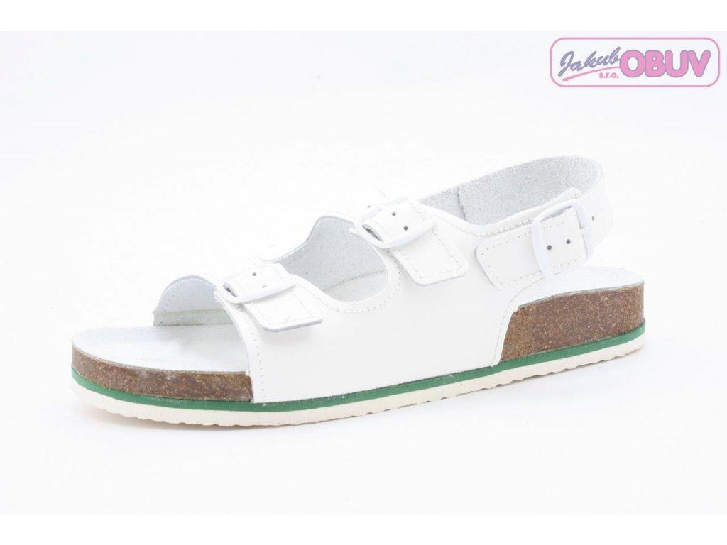 Pánský Fusbet sandál dvoupásek 217101-S KŮŽE bílý (Barva Bílá, Velikost 46)