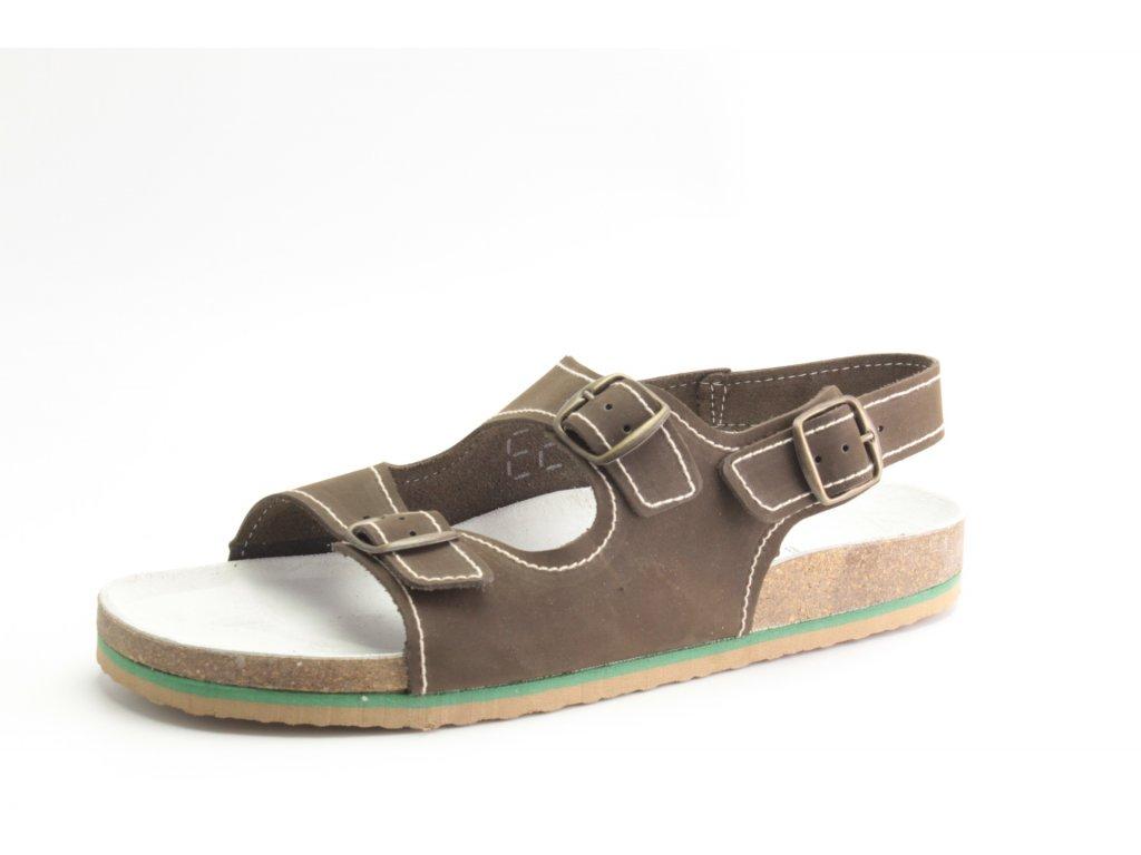 Pánský Fusbet sandál dvoupásek 217101 KŮŽE barevná (Barva světle hnědá, Velikost 46)