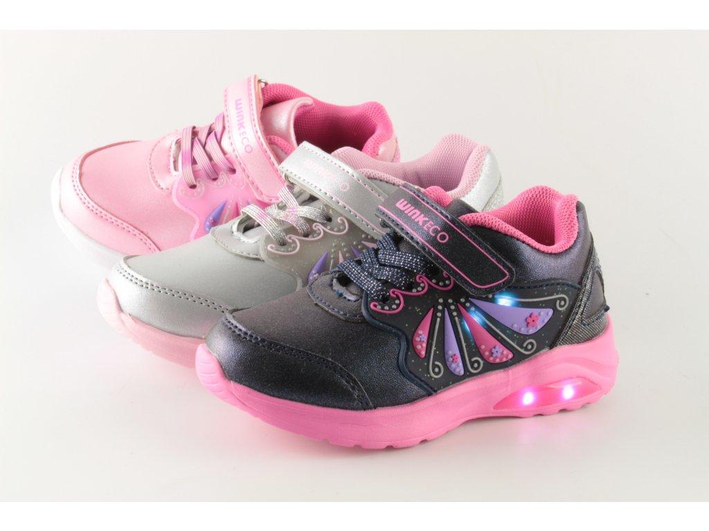 Dětské obuv Obutex JE92848-13-1 svítící (Barva stříbrná, Velikost 25)