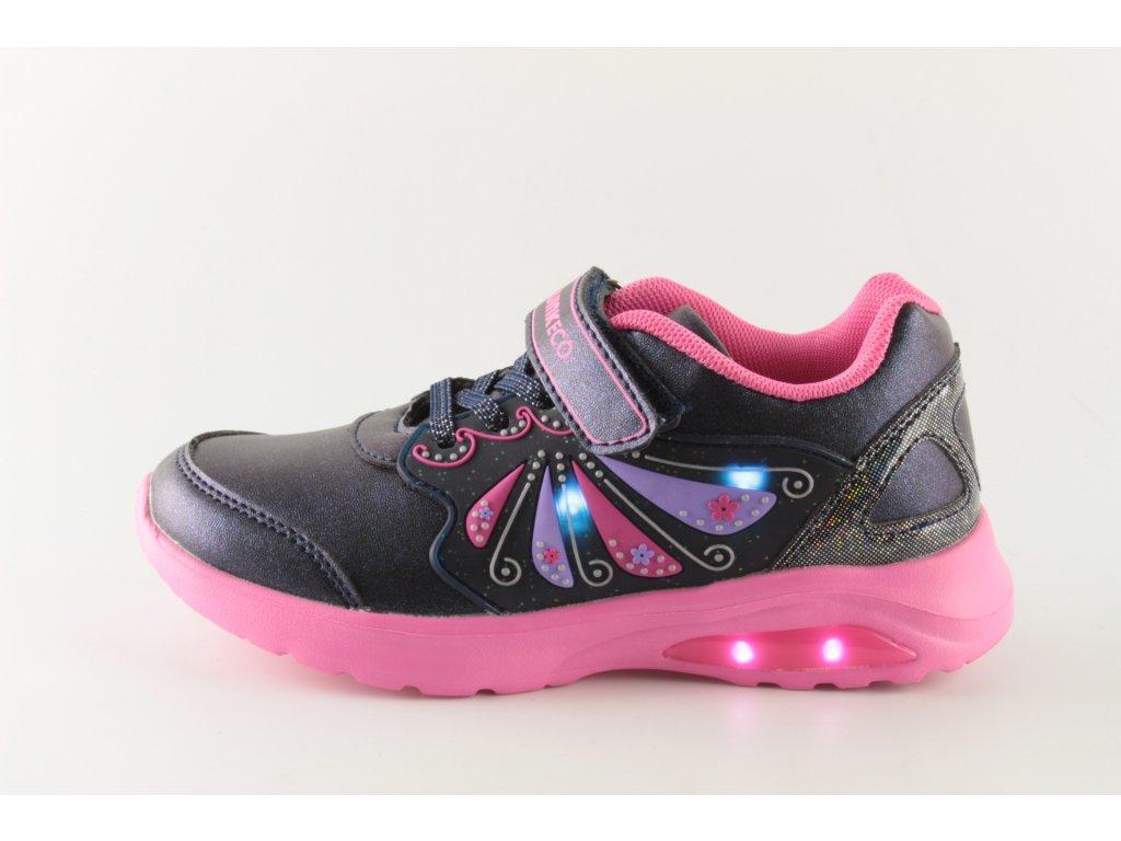 Dětské boty Obutex JE92848-1-2 svítící (Barva Modrá, Velikost 35)