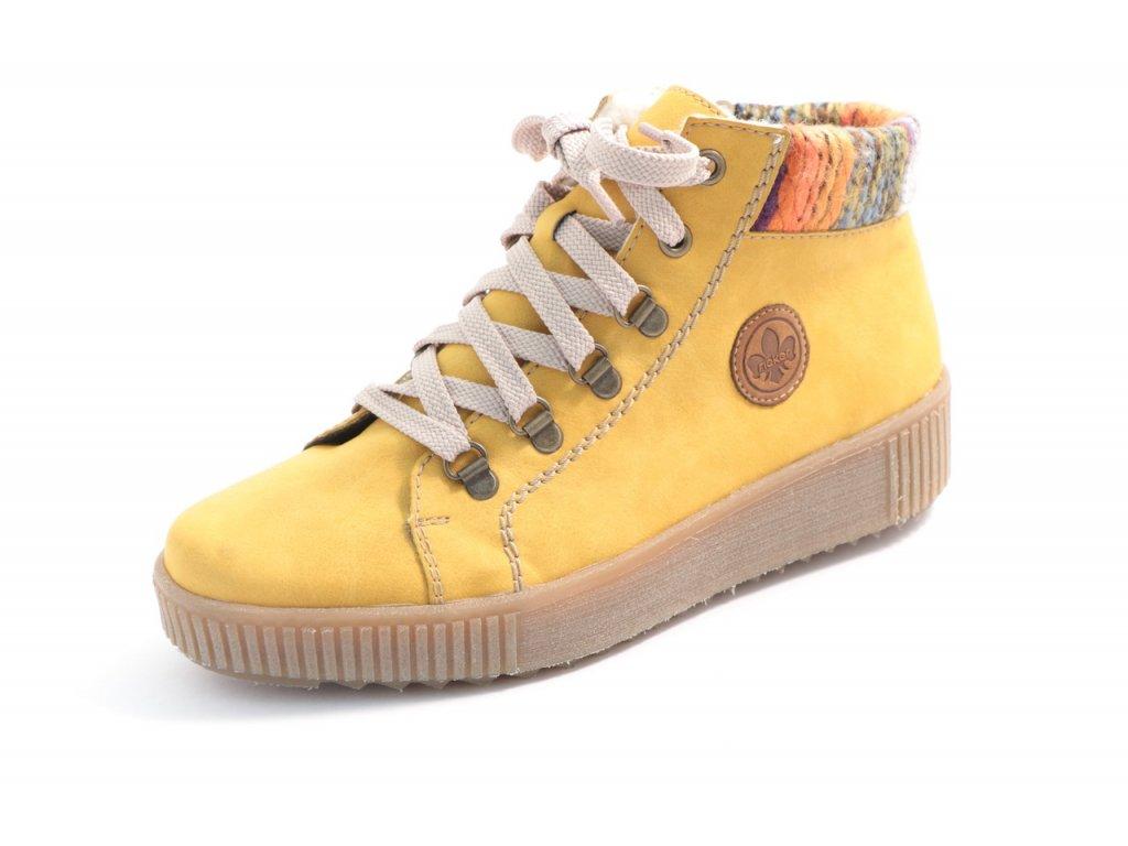 Dámská zimní obuv Rieker M6411-68 (Barva žlutá, Velikost 43)