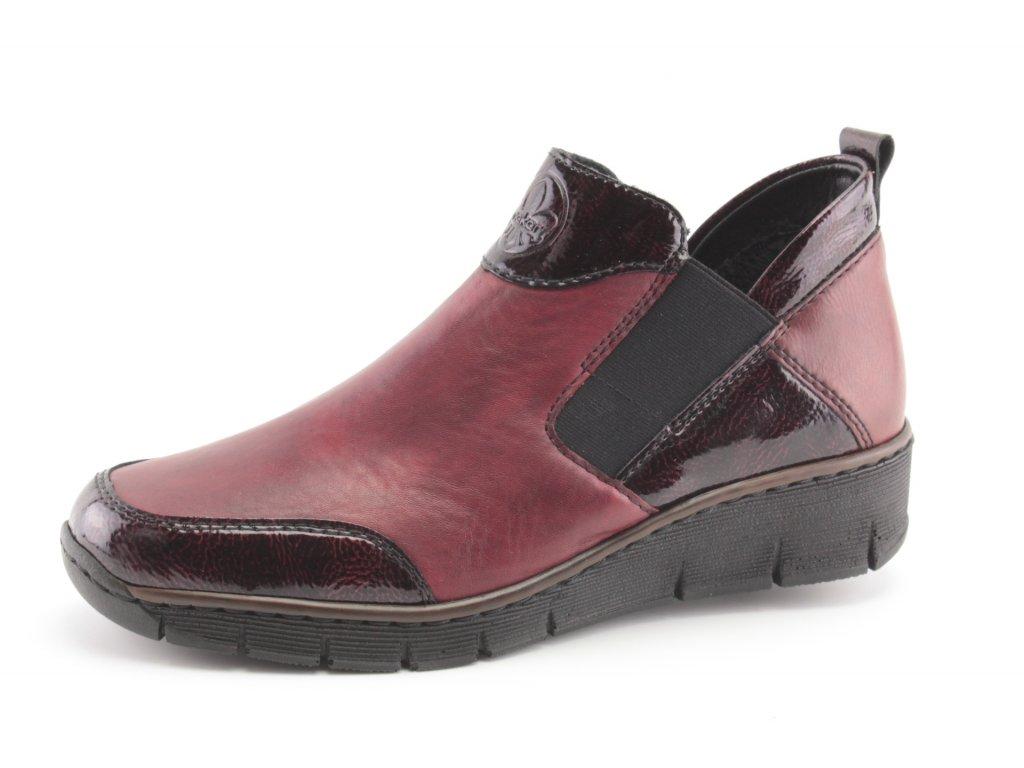 Dámské boty Rieker DC 53786-35 vínové (Barva bordó, Velikost 41)