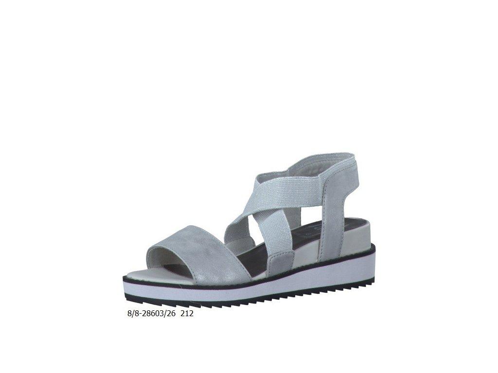Stříbrné dámské sandále Jana DL 8-28603/26 (Barva Bílá, Velikost 39)