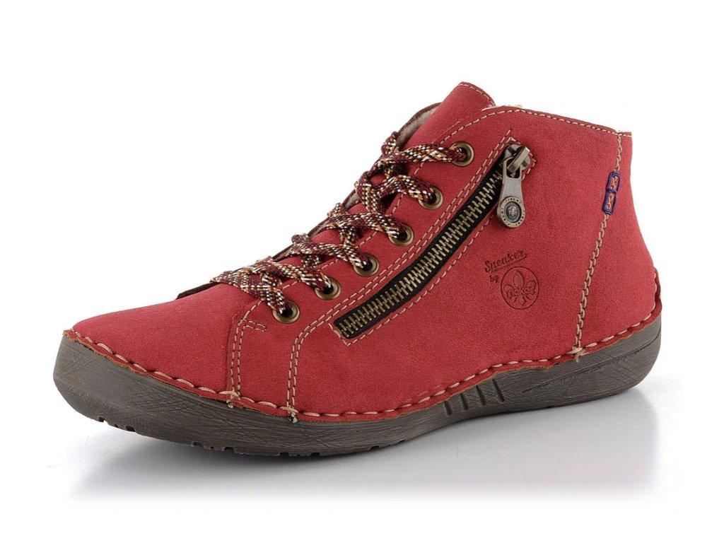 Dámské zimní boty Rieker 52549-36 červené (Barva červená, Velikost 42)