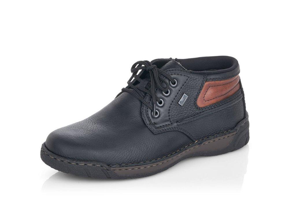 Pánské zimní boty Rieker B0343-00 kožené (Barva černá, Velikost 46)