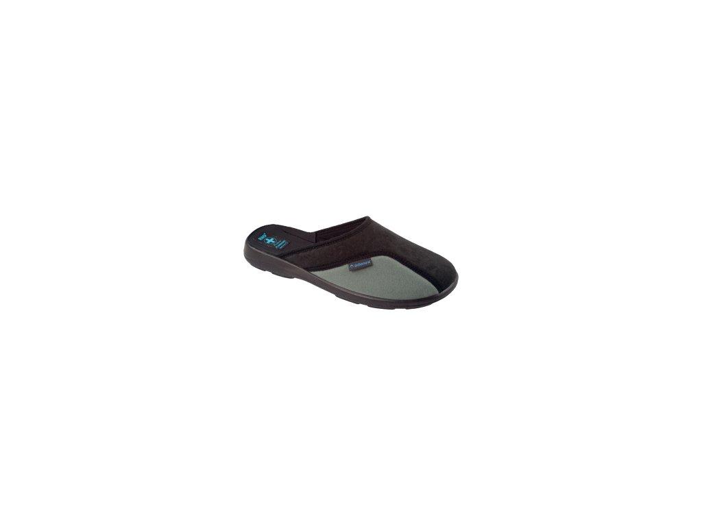 Pánské pantofle Adanex 16077 černo šedé (Barva šedá, Velikost 44)