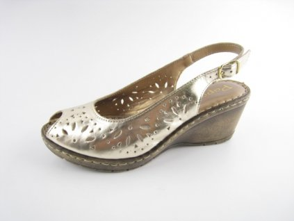 Dámská obuv DL 360070/85 kožená AKCE (Barva zlatá, Velikost 41)