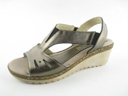 Dámská letní obuv DL 369080 kožená AKCE (Barva zlatá, Velikost 41)