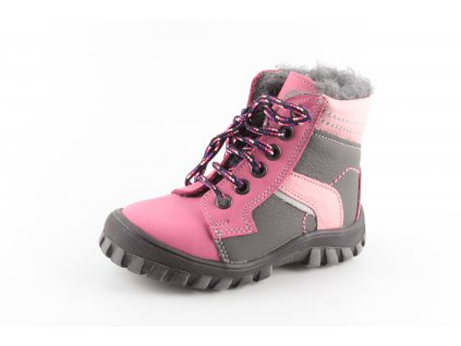 Dětská zimní kožená obuv ESSI S1607 27-30/22 (Barva růžová, Velikost 30)