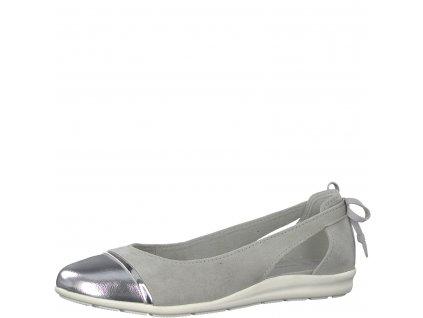 Dámské baleríny Marco Tozzi 2-22130/22 šedá (Barva šedá, Velikost 40)