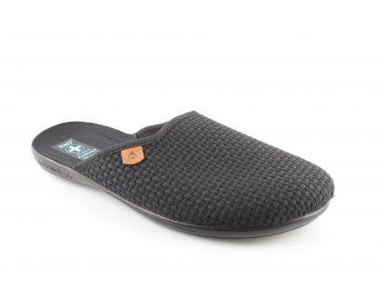 Pánská domácí obuv ADANEX 22931 (Barva černá, Velikost 45)
