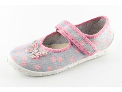 Dětská domácí obuv Dorotka D33 (Barva šedá, Velikost 25)