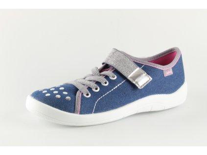 Dívčí školní přezůvky Befado 251Q109 modré do velikosti 40 (Barva Modrá, Velikost 40)