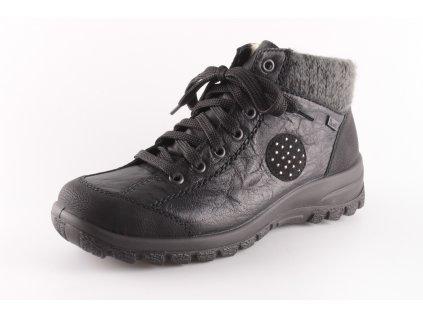 Dámské boty Rieker L7110-01 šedý límec (Barva černá, Velikost 42)