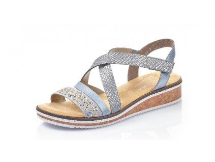 Dámská letní obuv Rieker V3663-10 (Barva světle modrá, Velikost 40)
