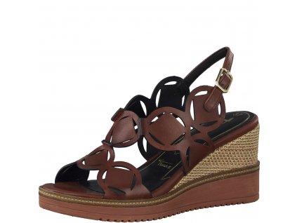 Dámské luxusní sandály Tamaris DL 1-28312/24 kožené (Barva hnědá, Velikost 41)
