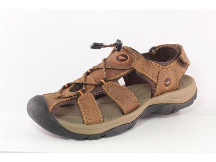 Pánské sandály BUSHMAN PL S420006A kožené AKCE (Barva hnědá, Velikost 46)