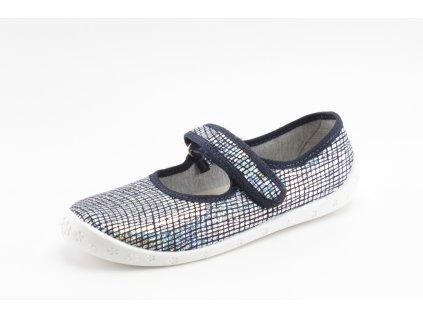 Dětské papuče Dorotka D38 stříbrno modré (Barva stříbrná, Velikost 25)