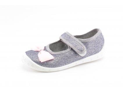 Dětské papuče Dorotka D5 stříbrné (Barva stříbrná, Velikost 34)