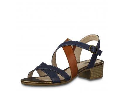 Dámské boty letní Jana DL 8-28256/24 kožené AKCE (Barva Modrá, Velikost 41)