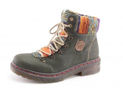 Dámské zimní boty Rieker DZ 76243-54 (Barva Zelená, Velikost 42)