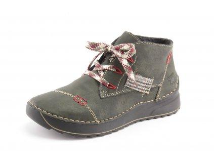 Dámské boty Rieker DZ 51534-54 khaki (Barva Zelená, Velikost 42)