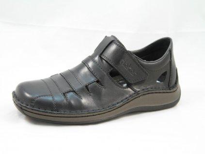 Černé pánské polobotky Rieker PC 05282-00 (Barva černá, Velikost 45)