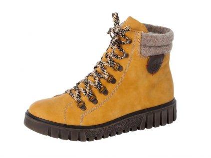 Dámská zimní obuv Rieker Y3440-68 hořčice