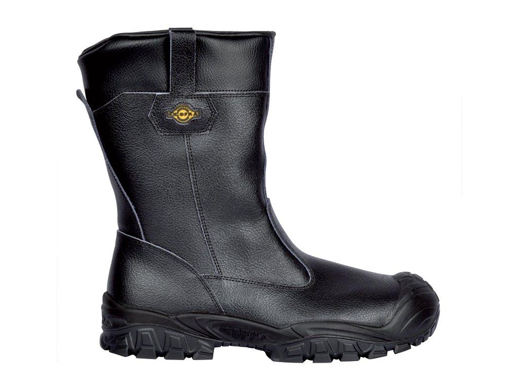 Čierne nepremokavé kožené bezpečnostné čižmy s oceľovou špičkou  COFRA  GUADIANA UK S3 SRC : TALIANSKÁ VÝROBA