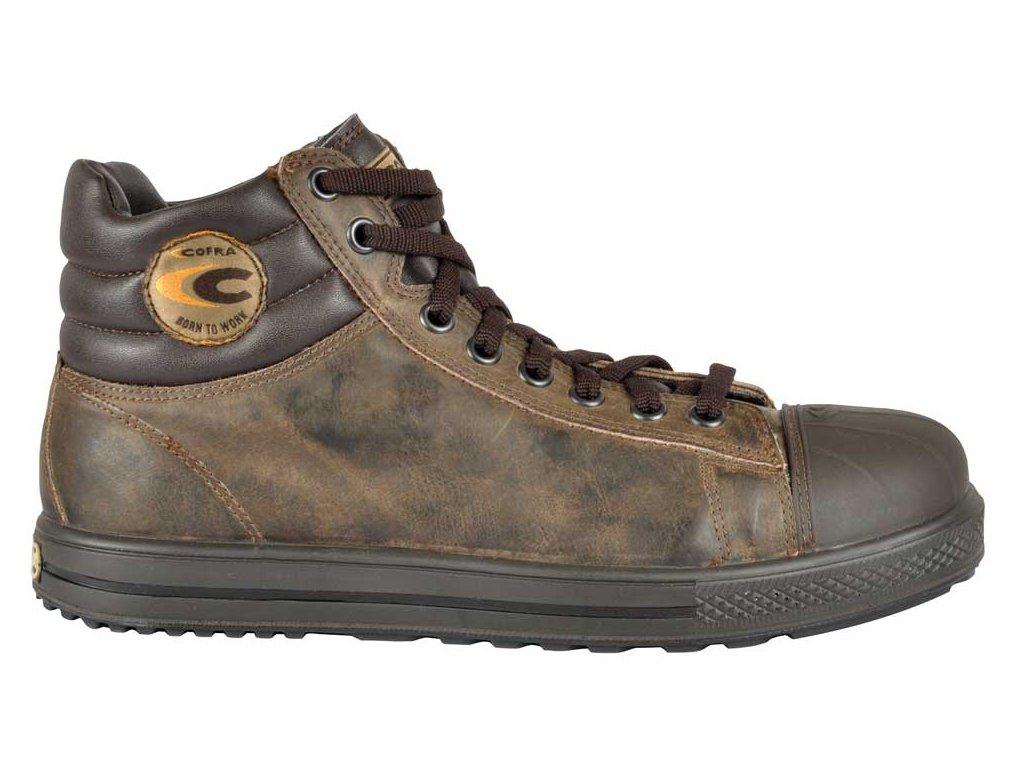 Moderná členková bezpečnostná obuv z nepremokavej kože a z odľahčenou kompozitnou špičkou a planžetou proti prierazu COFRA STOPPATA S3 SRC : TALIANSKÁ VÝROBA