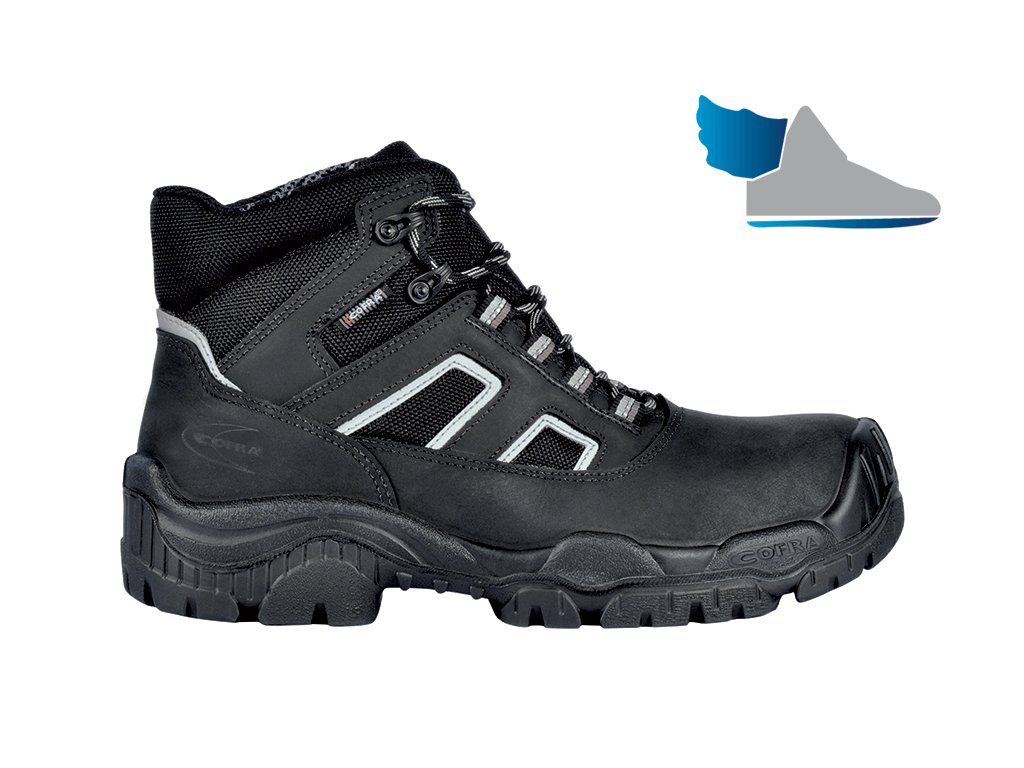 Členková bezpečnostná obuv s nekovovou odľahčenou kompozitnou špičkou COFRA CALEDON S3 SRC : TALIANSKÁ VÝROBA