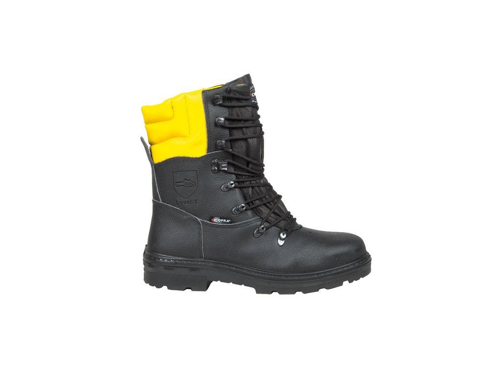 Kvalitná pilčícka bezpečnostná obuv aj do náročných podmienok s bezpečnostnou špičkou a planžetou proti prierazu COFRA WOODSMAN BIS A E P FO WRU SRC
