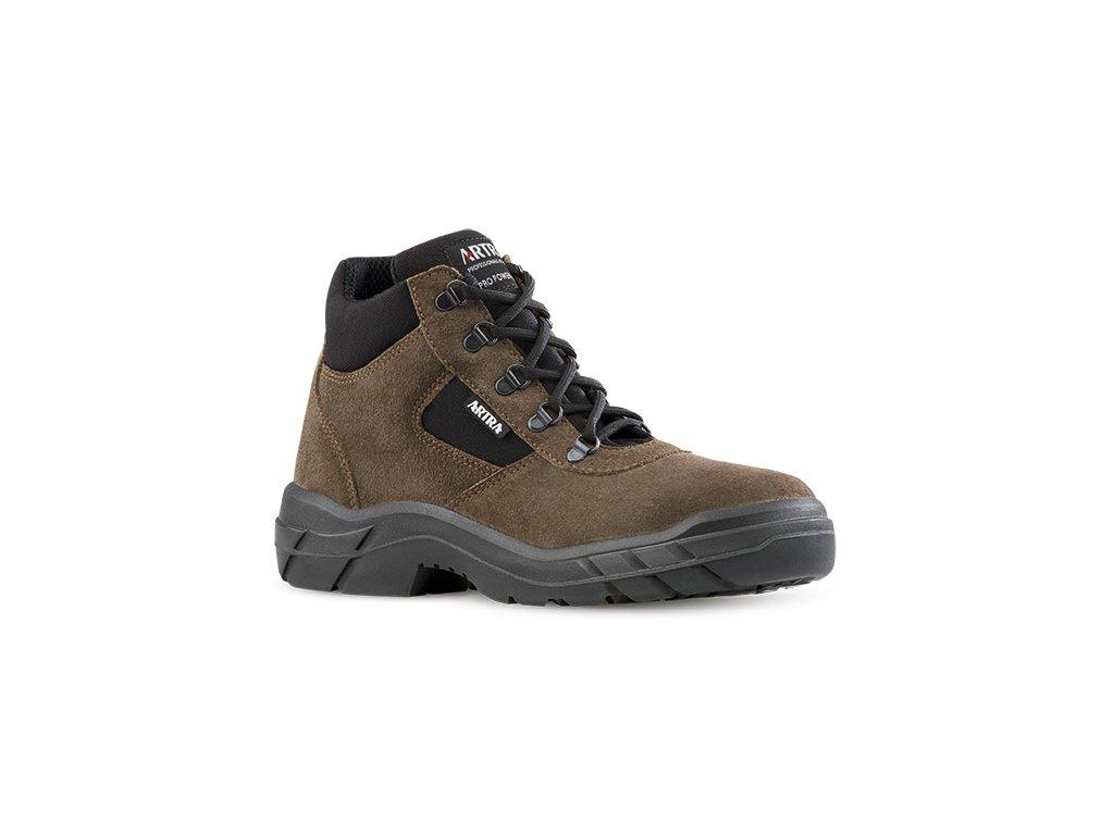 Členková pracovná obuv hnedej farby bez oceľovej špičky od výrobcu ARTRA v modelovom prevedení ARCHA 942 4360 O1 FO SRC