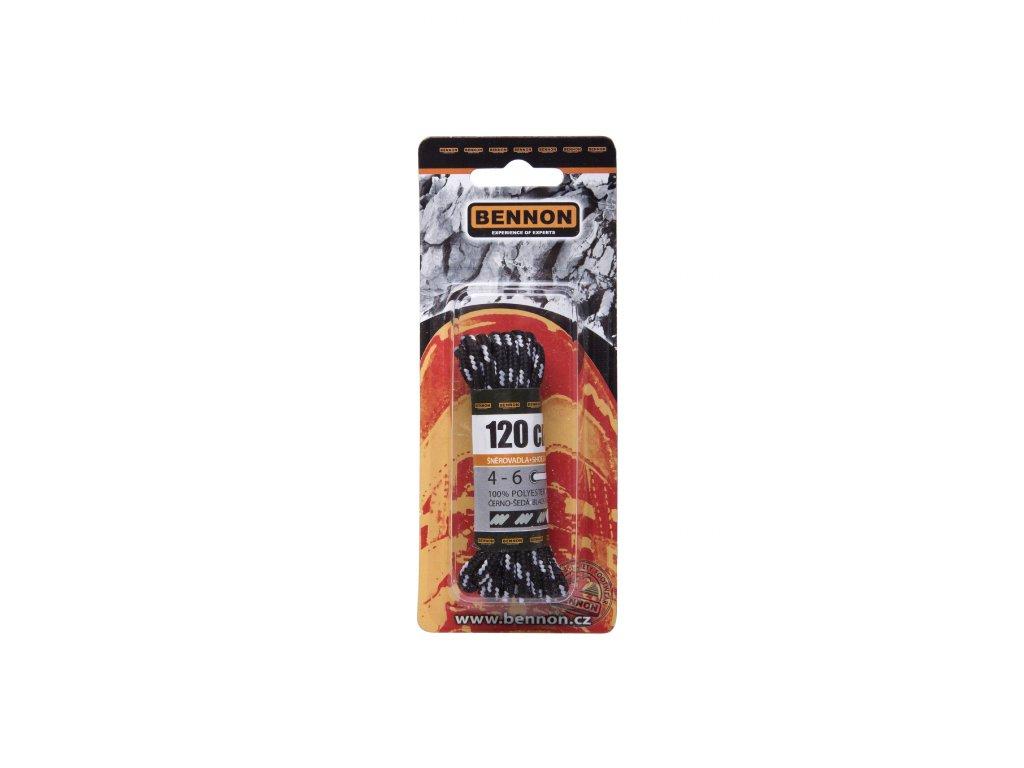 Šnúrky / laces: Okrúhle/round - Black-grey 120 cm
