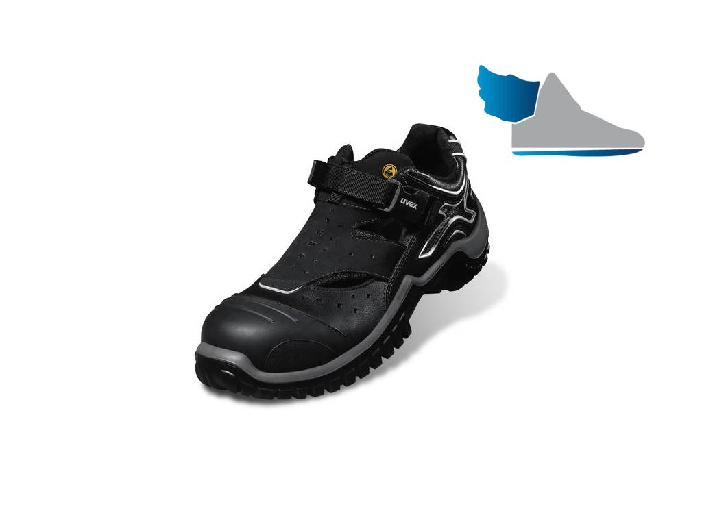 Nadčasové bezpečnostné sandále s odľahčenou plastovou špiškou a protišmykovou podrážkou UVEX XENOVA NRJ 6911 S1 SRC