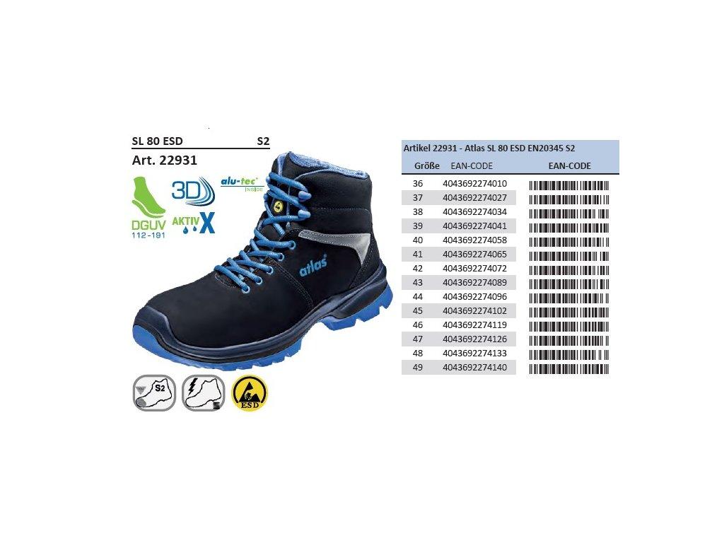 Bezpečnostná členková ESD obuv S2 ATLAS SL 80 ESD 7cb4f32dd2