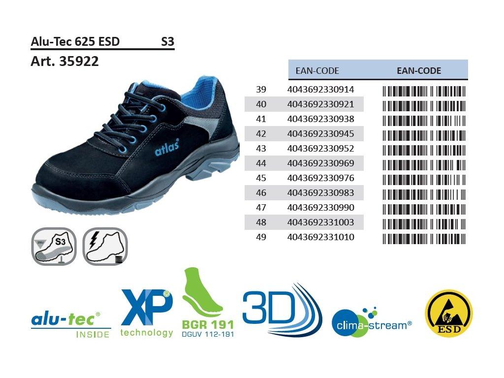ab5274604 ... podrobný popis bezpečnostnej obuv ATLAS Alu Tec 625 ESD S3