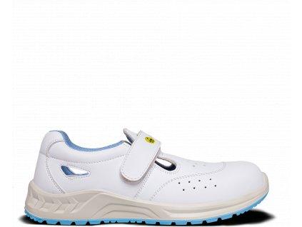 Biele bezpečnostné ESD sandále s bezpečnostnou špičkou BENNON WHITE S1 ESD