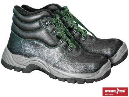 zimná zateplená obuv s oceľovou špičkou členkova čierna