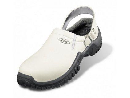 Moderná biela pracovná obuv - sandále UVEX XENOVA HYGIENE 6960 SB A E FO SRC s remienkom za pätou .